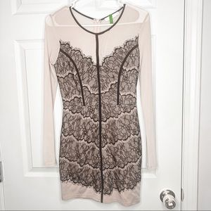 Lush lace black nude mesh dress size small